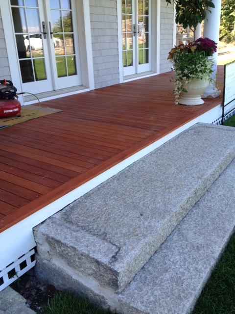 Genuine mahogany wood porch with oil green world lumber