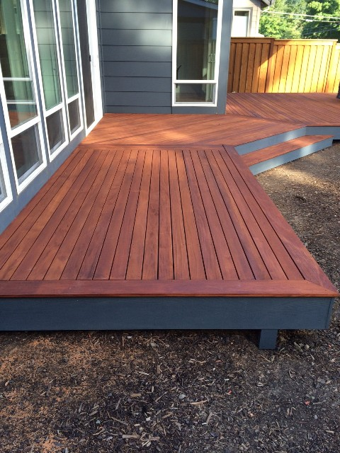 Mahogany Decking With brown UV Oil