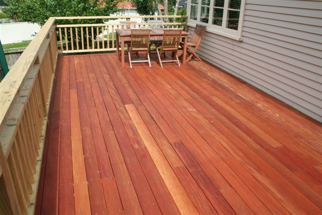 Mahogany deck boards with pressure treated railings