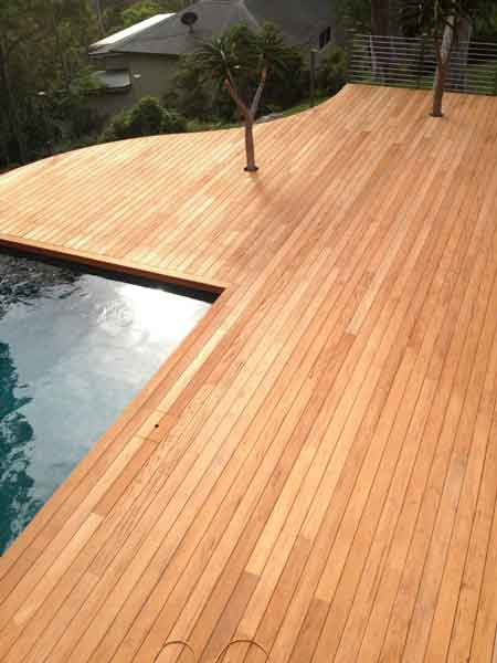 Mahogany decking with pool green world lumber