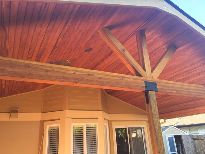 Mahogany wood roof